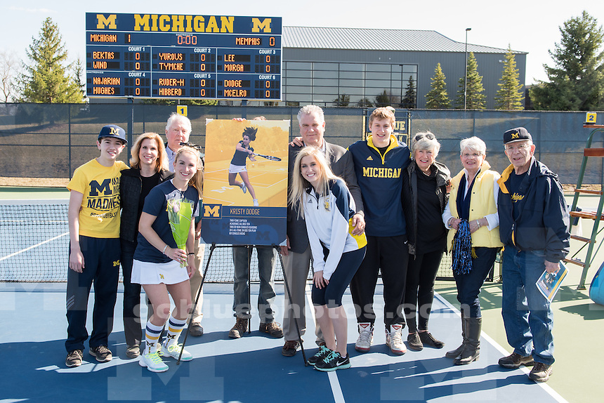 4/11/15 Women's Tennis vs. Memphis at the Varsity Tennis Center, Ann Arbor, MI.