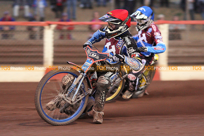 Heat 5: Davey Watt (red) and Kim Nilsson (blue) - Lakeside Hammers vs Swindon Robins - Elite League Speedway at Arena Essex Raceway - 12/08/11 - MANDATORY CREDIT: Gavin Ellis/TGSPHOTO - Self billing applies where appropriate - 0845 094 6026 - contact@tgsphoto.co.uk - NO UNPAID USE.