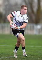 TORONTO, ON - MAY 05:  Jack Bussey #13 of the Toronto Wolfpack runs with the ball in the second half of a Betfred Championship match against the Swinton Lions at Fletcher's Fields on May 5, 2018 in Toronto, Canada.  (Photo by Vaughn Ridley/SWpix.com)