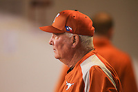 Texas Longhorns manager Augie Garrido #16 looks on during a game against the Minnesota Golden Gophers at the Metrodome on March 22, 2013 in Minneapolis, Minnesota. (Brace Hemmelgarn/Four Seam Images)
