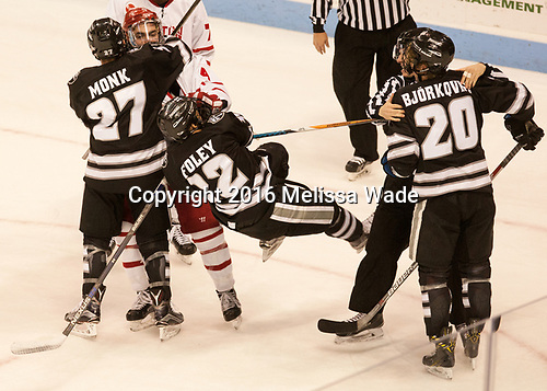 Josh Monk (PC - 27), Brandon Hickey (BU - 4), Erik Foley (PC - 12), Kasper Björkqvist (PC - 20) - The Boston University Terriers tied the visiting Providence College Friars 2-2 on Saturday, December 3, 2016, at Agganis Arena in Boston, Massachusetts.
