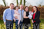 CHRISTENING: Jake-Matthew Dineen-O'Connell who was christened in Our Lady of Lourdes Church Scartaglin and afterward with his parents and guest to O'Riada's Bar & Restaurant,Ballymacelligott for christening lunch. L-r: Willie O'Connell (Godfather) and Eddie O'Connell (father) Scartaglin,, Evelyn Dineen (mother) Kilgarvan)  and Marie Carroll (Godmother) Tralee.