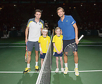 14-02-13, Tennis, Rotterdam, ABNAMROWTT, Julien Benneteau - Gilles Simon(L) with player escorts