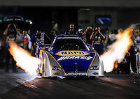 Sept. 17, 2010; Concord, NC, USA; NHRA funny car driver Ron Capps launches off the starting line during qualifying for the O'Reilly Auto Parts NHRA Nationals at zMax Dragway. Mandatory Credit: Mark J. Rebilas/