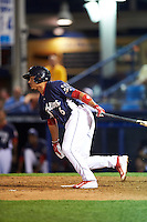 Reading Fightin Phils pinch hitter Rene Garcia (6) game winning base hit during a game against the New Britain Rock Cats on August 7, 2015 at FirstEnergy Stadium in Reading, Pennsylvania.  Reading defeated New Britain 4-3 in ten innings.  (Mike Janes/Four Seam Images)