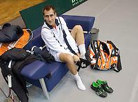 02-03-11, Tennis, Oekraine, Charkov, Daviscup, Oekraine - Netherlands, Thiemo de Bakker maakt zich klaar voor de training