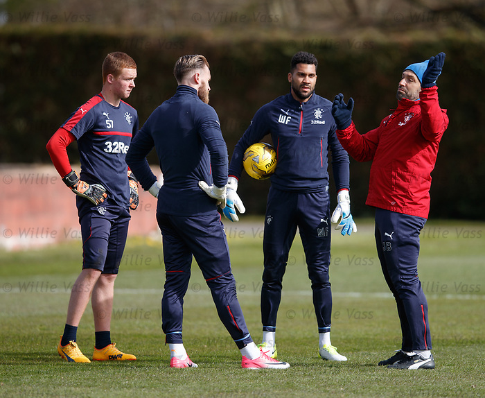 Jose Belman with the Rangers goalkeepers