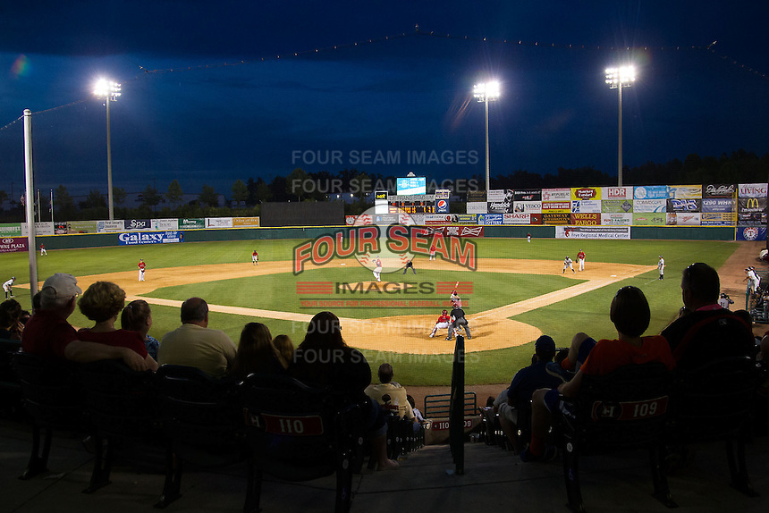 A crowd of 3,503 were on hand to watch the South Atlantic League game between the Charleston RiverDogs and the Hickory Crawdads at L.P. Frans Stadium on May 24, 2014 in Hickory, North Carolina.  The Crawdads defeated the RiverDogs 7-3.  (Brian Westerholt/Four Seam Images)
