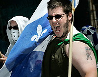 """Quebec City, July 1, 2007 ? Protesters take part into the annual MLNQ (Mouvement de liberation National du QuÈbec) Canada Day protest in front of the Quebec City hall July 1, 2007. Each year, the MLNQ gather a couple of dozens of hard line separatists to protest the """"Canadian colonialism demonstration of Canada Day"""".<br /> <br /> PHOTO :  Francis Vachon - Agence Quebec Presse"""