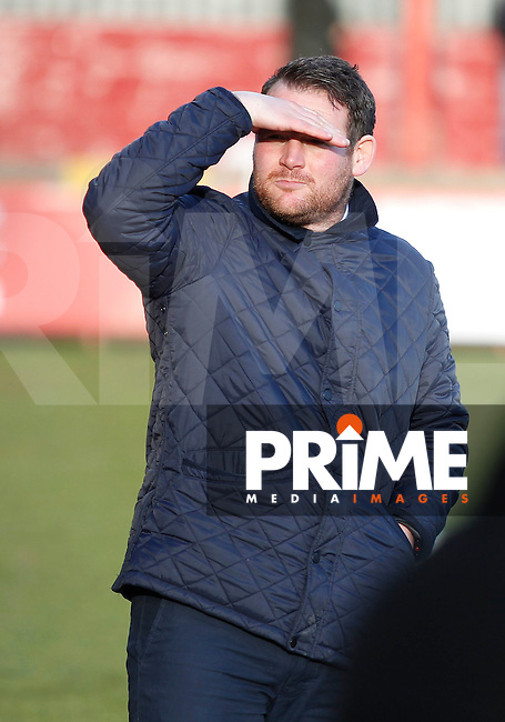 Stevenage manager, Darren Sarll seen during the Sky Bet League 2 match between Stevenage and Grimsby Town at the Lamex Stadium, Stevenage, England on 28 January 2017. Photo by Carlton Myrie / PRiME Media Images.