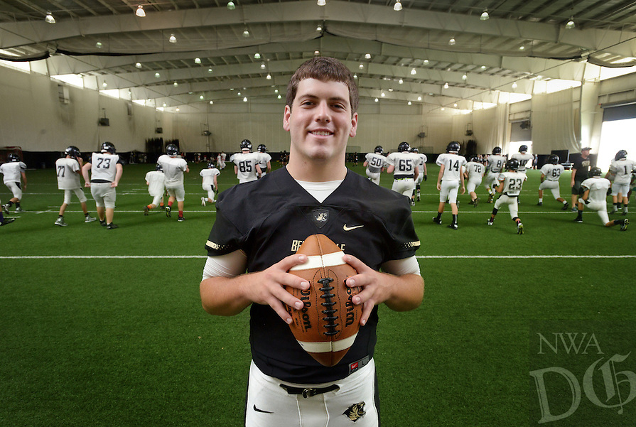 NWA Democrat-Gazette/BEN GOFF @NWABENGOFF<br /> Chase Hunter poses for a photo on Saturday Aug. 22, 2015 during Tiger Pride night in Bentonville's Tiger Stadium.