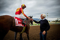 ARCADIA, CA - FEBRUARY 04: Jockey, Flavien Prat shakes trainer Bob Bafferts hand after winning the San Antonio Stakes at Santa Anita Park on February 4, 2017 in Arcadia, California. (Photo by Alex Evers/Eclipse Sportswire/Getty Images)