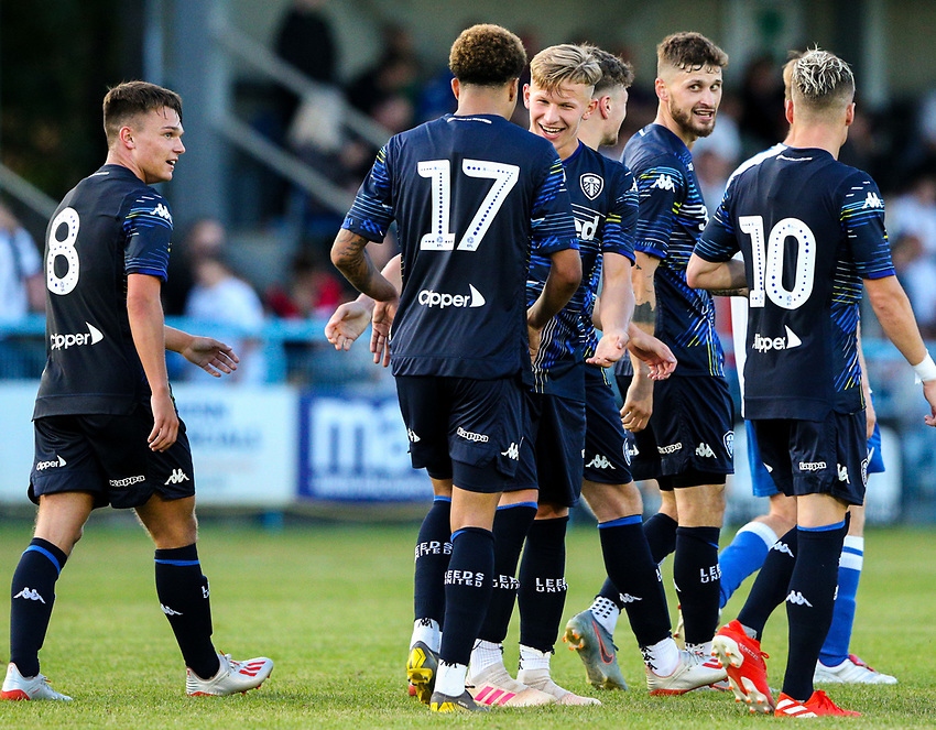 Leeds United's Mateusz Bogusz celebrates with Helder Costa after scoring his side's second goal <br /> <br /> Photographer Alex Dodd/CameraSport<br /> <br /> Football Pre-Season Friendly - Guiseley v Leeds United - Thursday July 11th 2019 - Nethermoor Park - Guiseley<br /> <br /> World Copyright © 2019 CameraSport. All rights reserved. 43 Linden Ave. Countesthorpe. Leicester. England. LE8 5PG - Tel: +44 (0) 116 277 4147 - admin@camerasport.com - www.camerasport.com