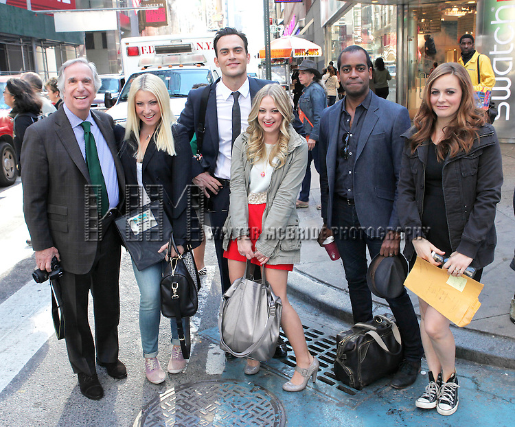 "The cast and creative team of ""The Performers"", from left, actor Henry Winkler, actress Ari Graynor, actor Cheyenne Jackson, actress Jenni Barber actor Daniel Breaker and Alicia Silverstone attends press event to introduce the cast and creators of the new Broadway play ""The Performers""at the Hard Rock Cafe on Tuesday, Sept. 25, 2012 in New York."