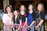 DINNER: Enjoying the annual Ballydesmond GLC dinner at the Ballygarry House hotel and Spa on Saturday l-r: Olivia Casey, Laura Dunlea, Aoife Kerins, Nicole Hickey and Ciara Quilter.
