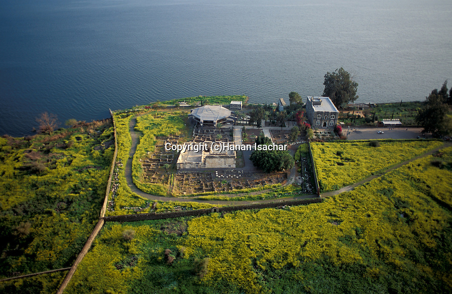 Israel, Sea of Galilee, the Church and the ancient Synagogue of Capernaum, an aerial view