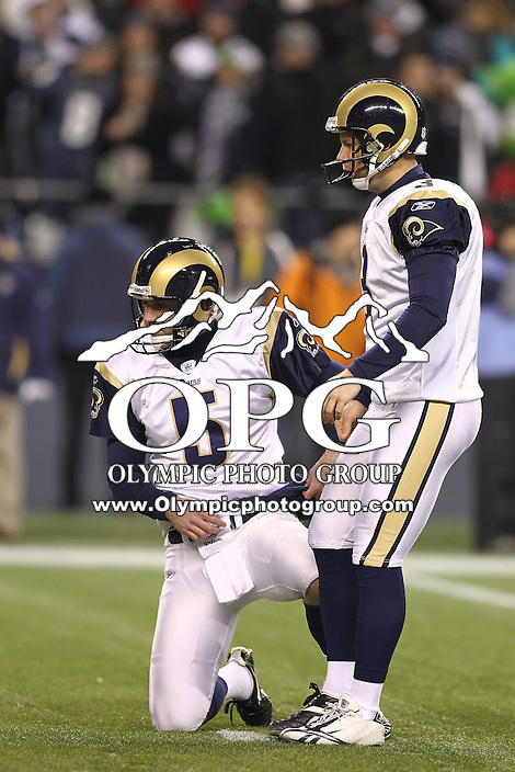 January 02, 2011:  St. Louis place holder #5 Donnie Jones and kicker #3 Josh Brown get set to kick a field goal at Quest Field in Seattle, WA.  Seattle won 16-6 over St. Louis.