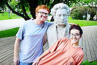 Kaitlyn Crawford, Sociology Major and Ryan Matijevich, Engineering Major, are pictured here with a statue of Alexander Pushkin, Russia's poet laureate, in Moscow.  They spent a semester studying Russian culture, history and language.<br />  (photo by Stephen Brain / &copy; Mississippi State University)