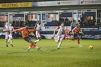 Isaac Vassell of Luton Town scores his team's first goal of the game to make the score 1-2 during the Sky Bet League 2 match between Luton Town and Cheltenham Town at Kenilworth Road, Luton, England on 31 January 2017. Photo by David Horn / PRiME Media Images