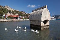 Turkey, Province Antalya, Kalekoy (Simena), near Kas: Lycian sarcophagus and castle | Tuerkei, Provinz Antalya, Kalekoey (Simena), bei Kas: Lykischer Sarkophag und mittelalterliche Kreuzfahrerburg