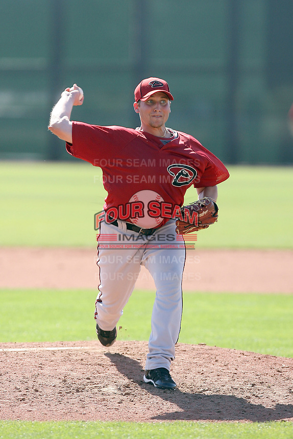 TJ Hose #12 of the Arizona Diamondbacks plays in a minor league spring training game against the San Francisco Giants at the Giants minor league complex on March 16, 2011  in Scottsdale, Arizona. .Photo by:  Bill Mitchell/Four Seam Images.