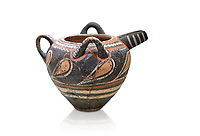 Minoan Kamares Ware  spouted  jug wit 3 handles and polychrome decorations, Phaistos 1800-1650 BC; Heraklion Archaeological  Museum, white background.<br /> <br /> This style of pottery is named afetr Kamares cave where this style of pottery was first found