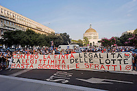 Rome, Italy  September 03, 2015<br /> Demostration anti-mafia, called by the centre-left Democratic Party,  at the church of Don Bosco in Rome to protest the ostentatious funeral of the purported Italian crime boss, Vittorio Casamonica, and to take a public stand against Italy's powerful crime syndicates. The Caravan of the Suburbs and the union Asia-USB, against the Democratic Party during the demonstration against the mafia, shouting&quot; Mafia Capital is within you. &quot;.  Protesters with a banner  against  the Democratic Party.