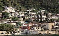 Houses in the Gorica Quarter in Berat, South-Central Albania, capital of the District of Berat and the County of Berat. In July 2008, the old town (Mangalem district) was listed as a UNESCO World Heritage Site. Picture by Manuel Cohen