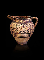 Minoan decorated ewer jug  from the  Knossos-Little Palace 1600-1450 BC, Heraklion Archaeological  Museum, black background.