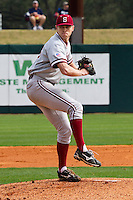 HOUSTON, TEXAS - Feb. 19, 2011: Chris Reed, Stanford's starting pitcher, prepares to deliver a pitch during the game at Rice. Rice defeated Stanford 7-1.