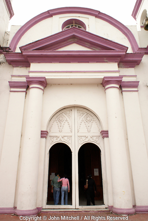 Entrance to San Cristobal parish church in the Spanish colonial river town of Tlacotalpan, Veracruz, Mexico. Tlacotlapan was made a UNESCO World Heritage Site in 1998.
