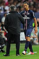 Carlo Ancelotti, allenatore del Paris Saint Germain e Zlatan Ibrahimovic (PSG).Parigi, 04/08/2012.Trofeo di Parigi .Paris Saint Germain vs FC Barcellona.foto Insidefoto / Christian Liewig / Panoramic ..Italy Only