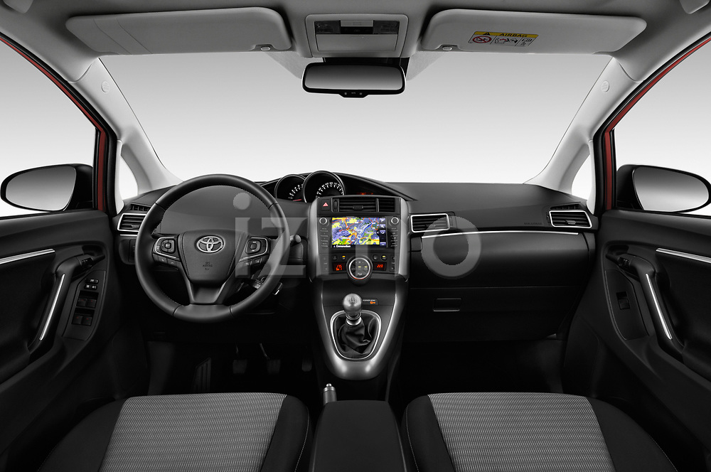Stock photo of straight dashboard view of 2017 Toyota Verso 50th-Anniversary+-PACK 5 Door Mini MPV Dashboard