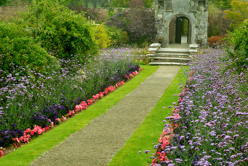 Garden pathway. Gardens at Domoland Castle. Ireland