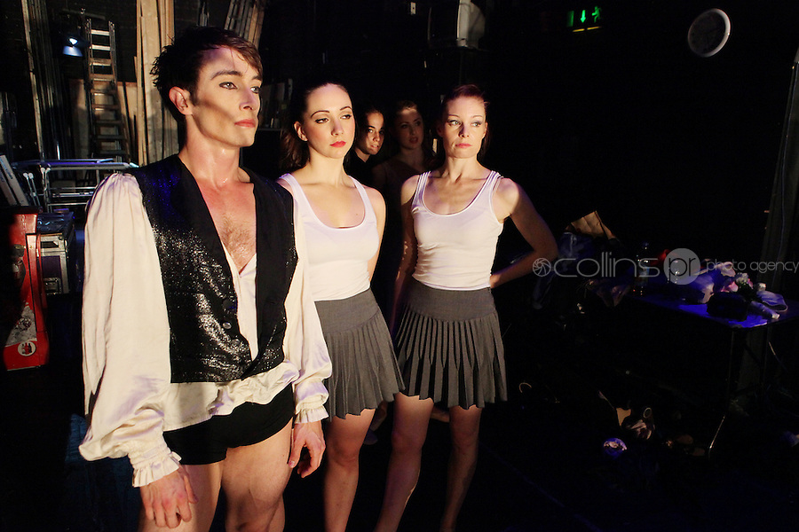 18/10/2010. Romeo and Juilet. Pictured backstage during rehersals at the Gaiety Theatre, Dublin are Kieran Stoneley (plays Mercutio), Amy Thake (plays Montague Friend) and Jane Mangan (plays Rosaline). choreographed by Morgann Runacre-Temple. The production will have its world premiere at the Gaiety Theatre on Tuesday October 19th.  The company of 16 will include Irish and International dancers and will tour to 31 venues in both Ireland and England over the coming months. Picture James Horan/Collins Photos