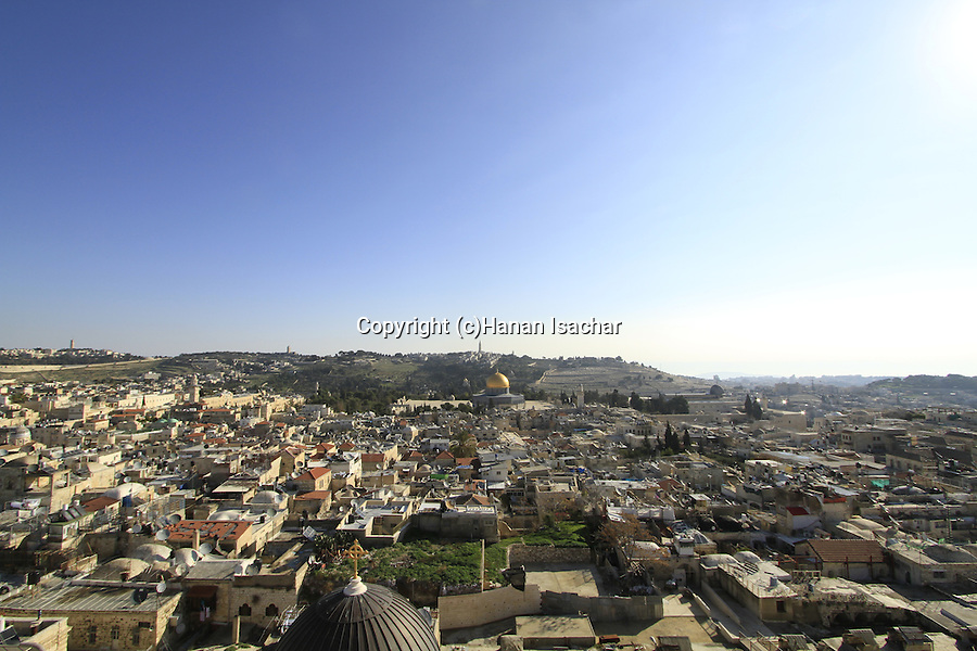 Israel, Jerusalem, view of the Old City and the Mount of Olives from the bell tower of the Church of the Redeemer
