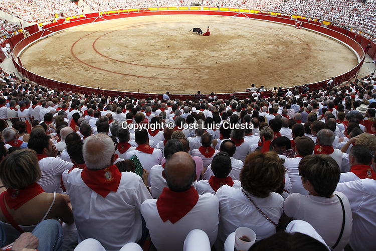 San Fermin´s bullfight, Pamplona, Spain. San Fermin festival is worldwide known because the daily running bulls and bullfights.