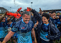 COB celebrate winning the 2019 Horowhenua-Kapiti division one club rugby Bill Muir Cup final between Paraparaumu and Levin College Old Boys at Levin Domain in Levin, New Zealand on Saturday, 20 July 2019. Photo: Dave Lintott / lintottphoto.co.nz