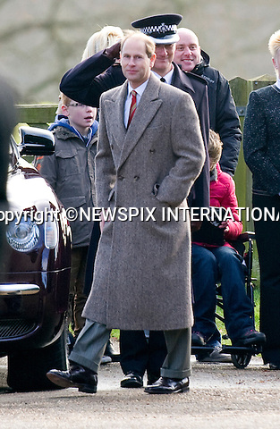 "PRINCE EDWARD ATTENDS CHURCH SERVICE.The Queen, Prince Philip and  Prince Edward, Sophie, Countess of Wessex attended Sunday Mass at St. Mary Magdalene's on the Sandringham Estate_30/12/2012.Kate and Prince William hio reported to be at Sandringham did not attend..©NEWSPIX INTERNATIONAL..Mandatory credit photo:NEWSPIX INTERNATIONAL(Failure to credit will incur a surcharge of 100% of reproduction fees)..**ALL FEES PAYABLE TO: ""NEWSPIX  INTERNATIONAL""**..Newspix International, 31 Chinnery Hill, Bishop's Stortford, ENGLAND CM23 3PS.Tel:+441279 324672.Fax: +441279656877.Mobile:  07775681153.e-mail: info@newspixinternational.co.uk"
