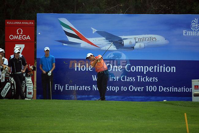 Edoardo Molinari (ITA) teeing off on the 7th.on day one of the Omega Dubai Desert Classic 2011 on the Majlis Course, Emirates Golf Club, Dubai, UAE. 10/02/2011.Picture Fran Caffrey/www.golffile.ie.