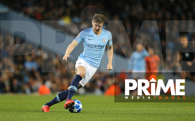 John STONES of Manchester City during the UEFA Champions League match between Manchester City and Olympique Lyonnais at the Etihad Stadium, Manchester, England on 19 September 2018. Photo by David Horn / PRiME Media Images.