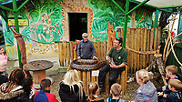 "Co-owner Dean Tweedy (L) with member of his staff shows one of the snakes to visitors at the Borth Wild Animal Kingdom (formerly know as Borth Animalarium and Borth Zoo) near Aberystwyth, Wales, UK. <br /> STOCK PICTURE<br /> Re: Two African antelope have escaped from Borth Wild Animal Kingdom zoo, in west Wales, with the owners urging the public to remain calm if they encounter them.<br /> The zoo is currently closed because of the coronavirus outbreak.<br /> It said an escaped male antelope with ""big horns, but is not aggressive"", has been located and a team had been sent to recapture it.<br /> A female antelope, described as ""not dangerous at all"", is also loose."