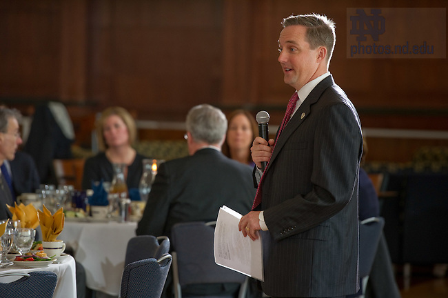 Feb. 28, 2012; Mike Chapple, Senior Director of Enterprise Services, speaks at a luncheon...Photo by Matt Cashore/University of Notre Dame