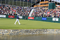 Matthew Fitzpatrick (ENG) walks onto the 18th green during Sunday's Final Round of the 2017 Omega European Masters held at Golf Club Crans-Sur-Sierre, Crans Montana, Switzerland. 10th September 2017.<br /> Picture: Eoin Clarke | Golffile<br /> <br /> <br /> All photos usage must carry mandatory copyright credit (&copy; Golffile | Eoin Clarke)