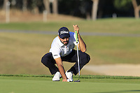 Francesco Laporta (ITA) on the 8th green during Thursday's Round 1 of the 2016 Portugal Masters held at the Oceanico Victoria Golf Course, Vilamoura, Algarve, Portugal. 19th October 2016.<br /> Picture: Eoin Clarke   Golffile<br /> <br /> <br /> All photos usage must carry mandatory copyright credit (© Golffile   Eoin Clarke)