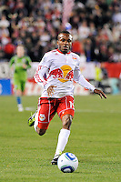 Dane Richards (19) of the New York Red Bulls. The New York Red Bulls defeated the Seattle Sounders 1-0 during a Major League Soccer (MLS) match at Red Bull Arena in Harrison, NJ, on March 19, 2011.