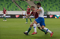 Adam Lang (L) of Hungary and Giorgos Tzavellas (R) of Greece fight for the ball during the UEFA Nations' League qualifying match between Hungary and Greece at the Groupama Arena stadium in Budapest, Hungary on Sept. 11, 2018. ATTILA VOLGYI