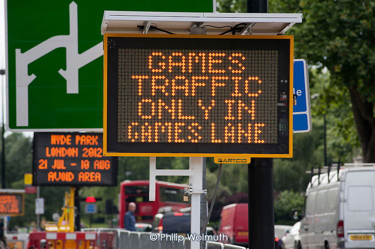 Games Lane illuminated road sign in Marble Arch during the London 2012 Olympic Games.