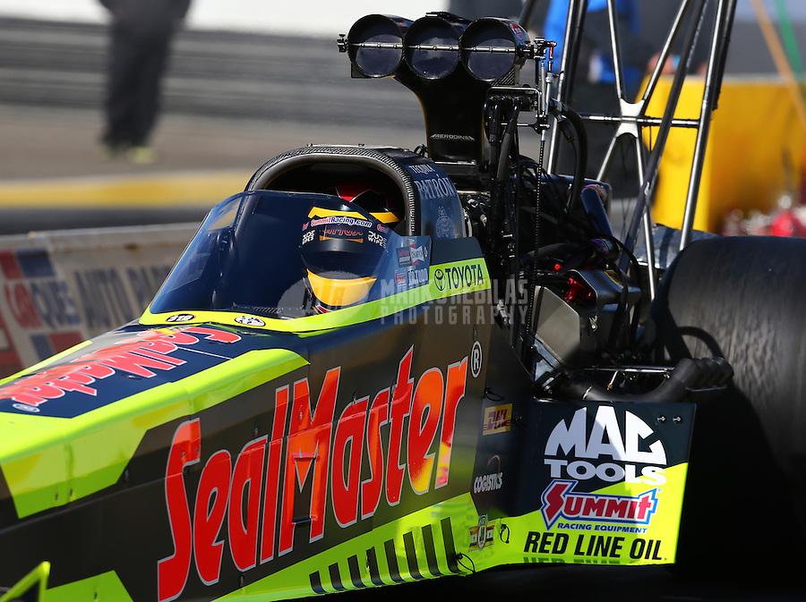 Feb 4, 2016; Chandler, AZ, USA; NHRA top fuel driver J.R. Todd during pre season testing at Wild Horse Pass Motorsports Park. Mandatory Credit: Mark J. Rebilas-USA TODAY Sports