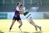 James Cordy-Redden of Ealing Trailfinders is tackled. RFU Championship Cup match, between Ealing Trailfinders and Cornish Pirates on February 24, 2019 at the Trailfinders Sports Ground in London, England. Photo by: Patrick Khachfe / Onside Images